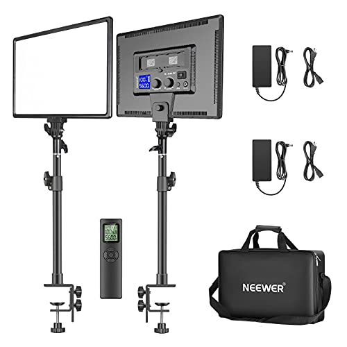 """Neewer 90W Desk Mount LED Video Light C-Clamp Stand Kit with 2.4GHz Wireless Remote, 2-Pack 45W Dimmable Bi-Color 18"""" Panel Light 3200K–5600K 4800 Lux CRI 97+ for Game/YouTube/Live Streaming"""