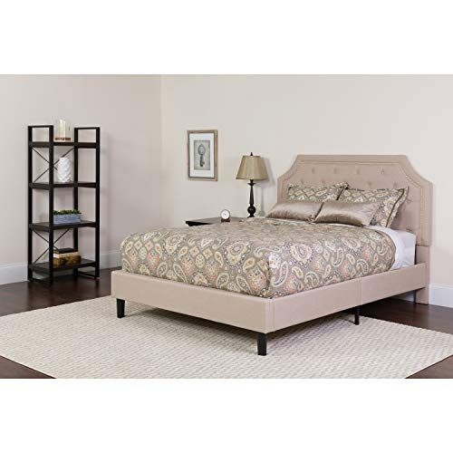 Flash Furniture SL-BK4-K-B-GG Brighton King Size Tufted Upholstered Platform Bed in Beige Fabric