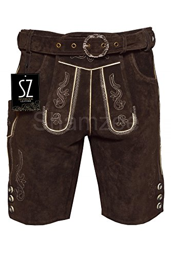 Shamzee Trachten Lederhose Kurz inklusive Gürtel aus Echtleder in braun Farbe (60, Braun)