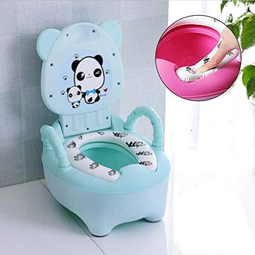 Vasino per bambini Vasino per vasino Sedile per WC per bambini Cartone animato Panda Allenatore per toilette Portatile da viaggio Orinatoio Comodo Schienale-verde