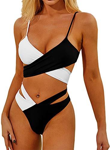 EUDOLAH Bañador Bicolor para Mujer Bikini Cruzado para Mujer con Nudo(1-Blanco y...