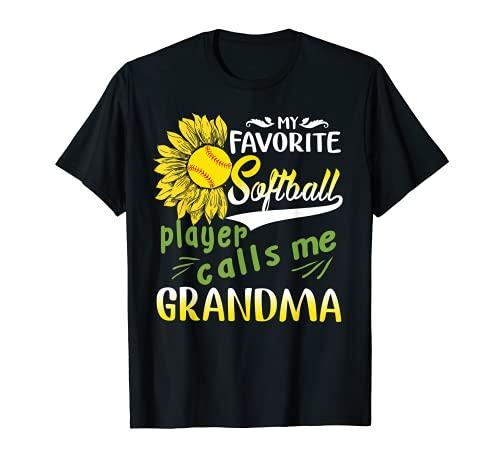 My Favorite Softball Player Calls Me Grandma Sunflower T-Shirt