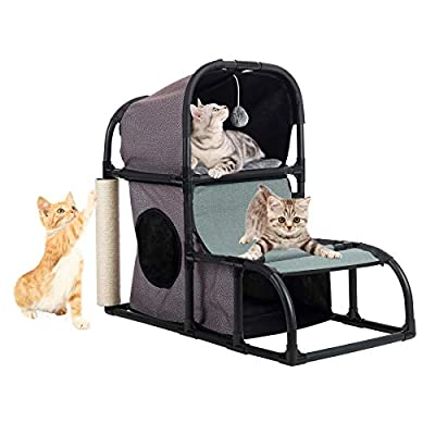 CO-Z 4 in 1 Multi-Functional Cat Tree Condo Furniture, Super Stable Cat Tower House, Combined with Cat Bed, Cat Climber, Peek Holes, Scratching Post & Dangling Toy