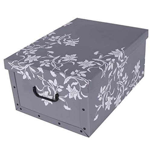 """XXL Dekokarton mit modernem Muster """"Barock Blumen Grau"""" - Tolles Motiv, passt in jeden Haushalt! Edel und hochwertig! Mit Griffen zum Tragen und XXL Volumen!"""