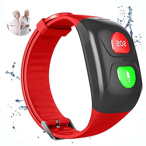 URJEKQ Smartwatch para Ancianos Reloj Inteligente Pulsera Actividad con Fitness Tracker Cronómetro Monitor de Sueño IP67 Impermeable Reloj de Fitness para Mujer Hombre Niño,Rojo
