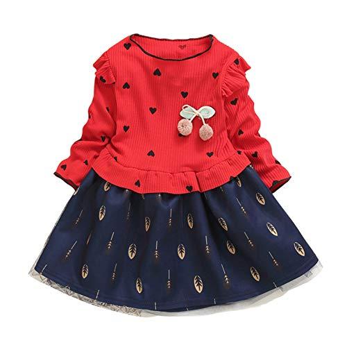 Gyratedream Baby Meisjes T-shirt Jurk Een Stuk Tule Rok Gedrukt Party Prinses Jurken 1-7 Jaar Peuter Kinderen Leuke Ruche Lange Mouw Fancy Jurk