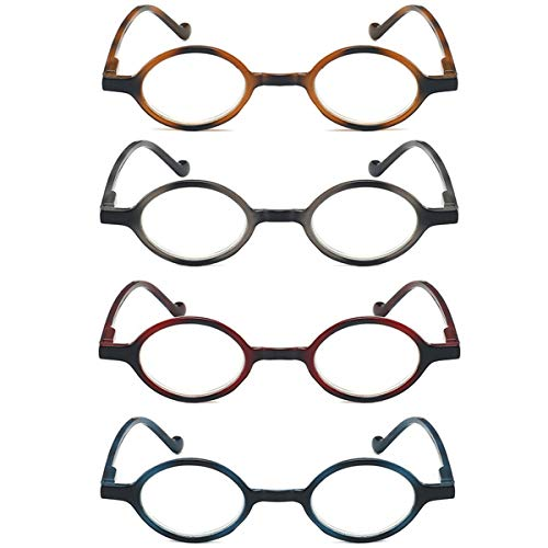 LGQ Paquete de 4 Gafas de Lectura con Montura Redonda Anti-luz Azul, Gafas de Lectura ultraligeras y cómodas para Hombres y Mujeres, dioptrías de +1,00 a +3,00,Mixing,+2.50