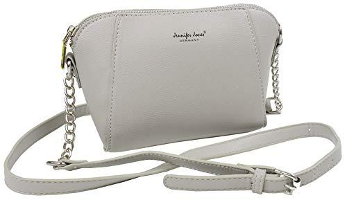 J JONES JENNIFER JONES Kleine Damen Handtasche Hard Shape Schultertasche elegante Umhängetasche mit Kette 21 x 14 x 10 cm (Stone)