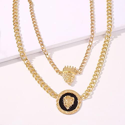Collares de Cadena de Color Dorado de Metal de declaración de Estilo Punk, Cabeza de león de Hip Hop con Corona, Colgante, Collar para Mujer, Regalo de joyería de Fiesta de Rock