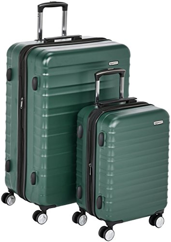 AmazonBasics Premium Hardside Spinner Luggage with Built-In TSA Lock - 2-Piece Set (55 cm, 78 cm), Green