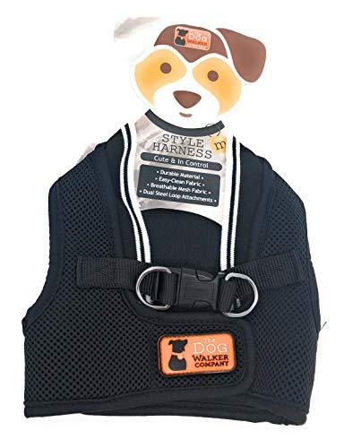 The Dog Walker Medium Style Harness ~ Stylish Black with White Trim