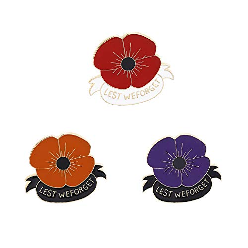 KOOBOOK 3PcsLest We Forget Poppy Brooch Pin Flower Broach Badge Veterans Day Memorial Day Remembrance Day Gifts 3 Colors
