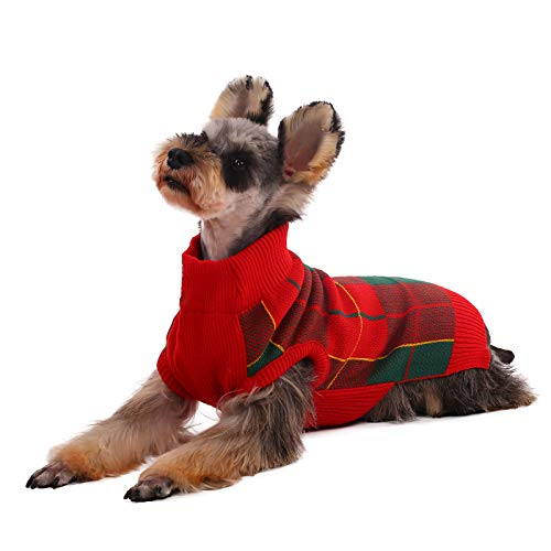 Kuoser Dog Sweater, Dog Classic Plaid Knitwear Sweater for Cold Weather Small Medium Sized Dog Turtleneck Christmas Holiday Pet Clothes Cozy Doggie Vest Dog Winter Coat Costume with Leash Hole L
