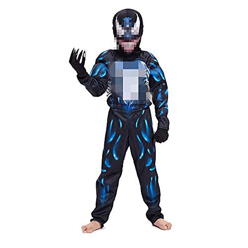 FINDPITAYA Disfraz VenomOnesies Halloween Navidad Músculo Niños Cosplay Costume con Mascara(Patas) (Azul, L 130-140)