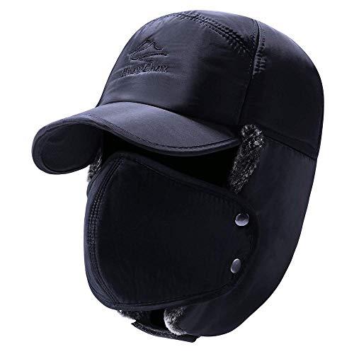 XiAOJIE Dames muts Unisex Chapka met binnenin Lined Windproof Dust Warm voor skiën Fietsen Winter Cap Hats met oor Flap-Blue