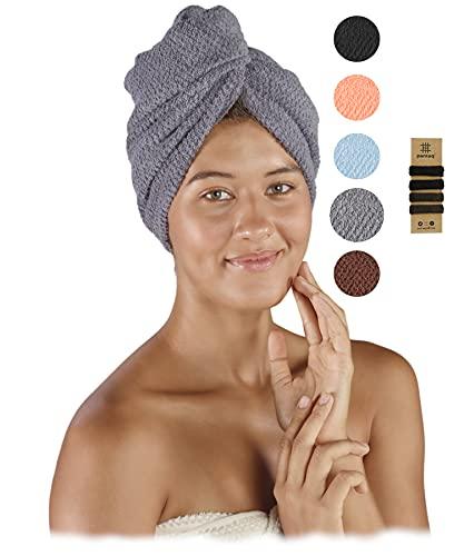 pamuq® Haarturban schnelltrocknend 100% Baumwolle | 2er Set | mit 2 Knöpfe | inkl. 4X Haargummis | Dry-Ban Haartrockentuch Turban Handtuch Haarhandtuch Handtuch schnelltrocknend Hair Towel Wrap