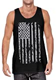 Haase Unlimited Silver American Flag - USA Patriotic Freedom Men's Tank Top (Black, Large)