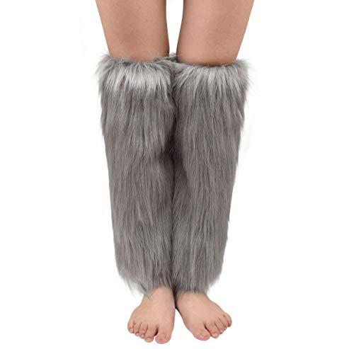 Nanxson Womens Fur Leg Warmer Winter Furry Long Boot Cuffs Cover TTW0034 (grey)