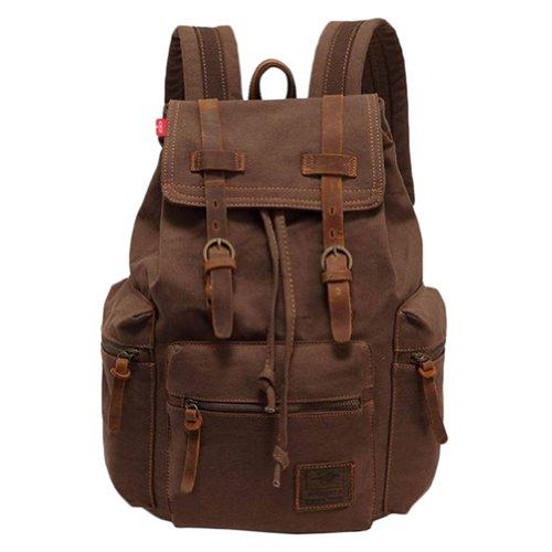 Wuiyepo Homme Vintage Canvas Sac à dos multifonctions sac de randonnée de sac d'école (Brown)