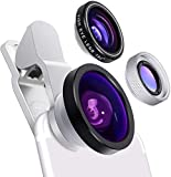 Cell Phone Camera Lens - Yarrashop 3 in 1 HD Clip-On Lens Kit for 180 Degree Fisheye Lens + 0.4X Wide Angle Lens + 10X Macro Lens for iPhone Xs Max/XR Samsung Huawei LG and Other Smartphone (Silver)