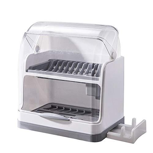 SMEJS 2 Capas de Mesa de plástico Estante for Platos de Cocina de Almacenamiento de Soporte escurridor de vajilla Tazón de Secado ESCURREPLATOS Inicio Armario Organizador con Tapa (Color : Gray)