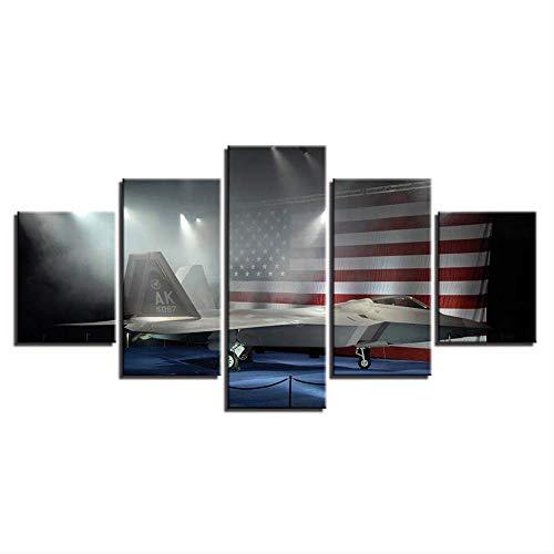Woonkamer moderne decoratie muurkunst 5 stuks Amerikaanse vlag canvas HD prints modulaire schilderijen posters afbeeldingen kunstwerken 30x40cmx2,30x60cmx2,30x80cmx1 Geen frame.