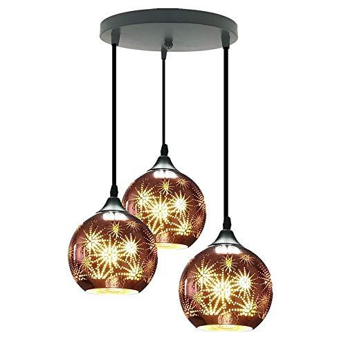 LKK-KK 3-luces creativo moderno perforó pendiente de la luz multi-pendiente de la lámpara, techo ajustable con cable acabado de laca accesorio de iluminación del droplight Glass Bar decorativo Colgand
