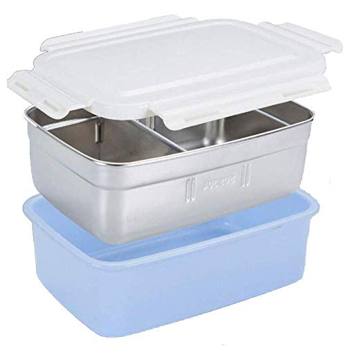 WFCQNB Caja de almuerzo de acero inoxidable para niños, caja de almuerzo para niños de 2 cuadrículas, utilizado para el almuerzo escolar, almacenamiento de alimentos para adultos, lavavajillas seguro,
