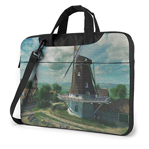 DJNGN Laptop Shoulder Bag Laptop Case 13 Inch, Windmill Computer Sleeve Cover with Handle, Business Briefcase Protective Bag