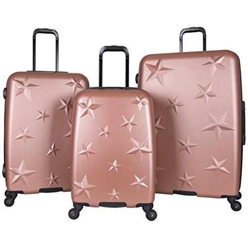 Aimee Kestenberg Women's Star Journey Hardside 4-Wheel 3-Piece Luggage Set: 20' Carry-on, 24', 28', Rose Gold