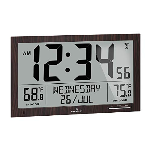 Marathon Slim Atomic Full Calendar Wall Clock with Indoor/Outdoor Temperature. Extra Long 4.5 Inch Digits. Comes with External Probe for Refrigerators - CL030066WD (Wood Grain Finish)