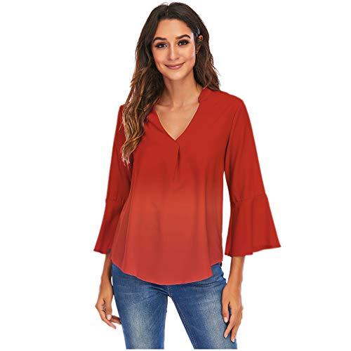 Xmiral Shirt for Women Gradient Henry Collar Buttoned Blouse T-Shirt Rollable Long Sleeve Casual Work Shirt(d-Wine,4XL)