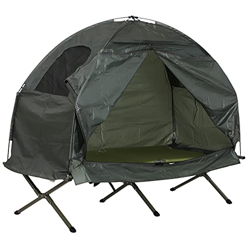 Outsunny 1 Person Compact Pop Up Portable Folding Outdoor Elevated Camping Cot Tent Combo Set