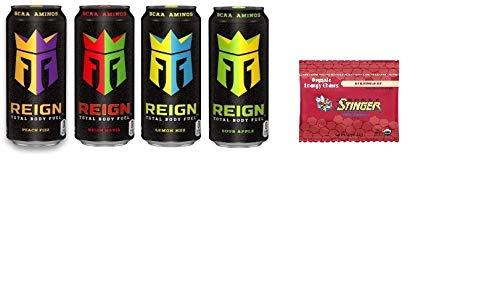REIGN Total Body Fuel Variety Pack - Peach Fizz, Melon Mania, Lemon HDZ, White Gummy Bear- 16 ounce (Pack of 16) + Honey Stinger Chews