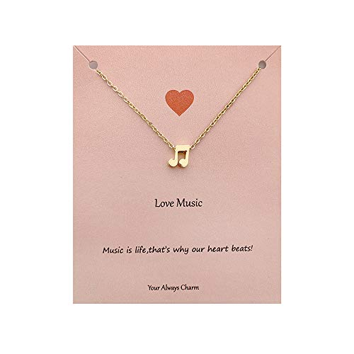 """Your Always Charm Music Lover Gifts,Treble Clef Music Note Necklace 16""""-18"""""""