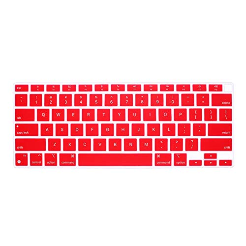 Silicone English Laptop Skin Keyboard Cover Waterproof For MacBook New Air 13 inch M1 A2337(2020 Release)-Red