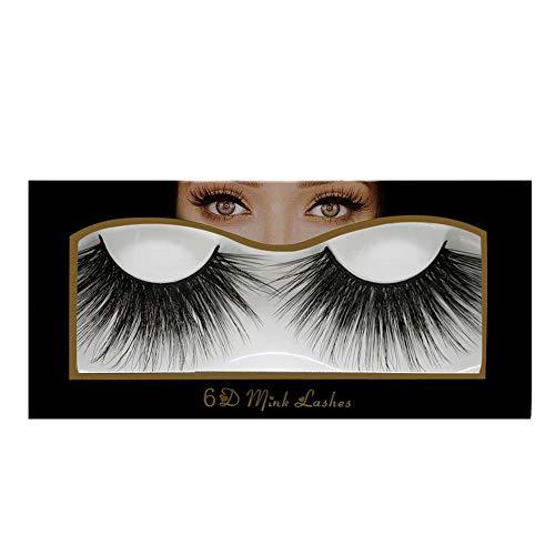 Faux cils, cils de vison à long volume de type long 25 mm, cils de maquillage réutilisables, effet de couche naturel 6D, confortable et doux, cils fai