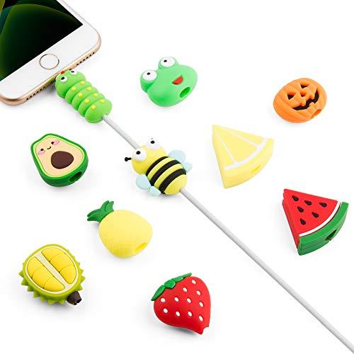 SUNGUY Protector de cable para iPhone, protección de frutas y animales, bonito cable para iPad, cable de frutas, 10 unidades