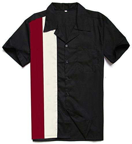 Candow Look Herrenhemden Marken Kurzarm Contrast Color Rockabilly Bowling Shirts
