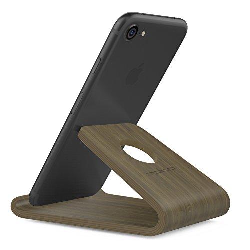 MoKo Supporto di Legno per Cellulare, Stand Supporto di Legno per iPhone 11 PRO Max XS Max, Galaxy S20 6.2    Note 10 Plus, Google Pixel 4 Pixel 4XL, Huawei P30 PRO e Altri, Colore Noce