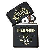 Pixelstudio Bester Trauzeuge der Welt Zippo Feuerzeug, Schwarz, mit Gravur. Geschenk Groomsmen und...