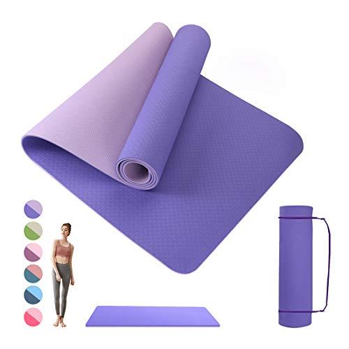Wishstar Sportmatten, Fitnessmatte, Yogamatte, Workout Matte, Gymnastikmatte rutschfest 183 x 61 x 0.6 cm, Training Matte für Yoga, Pilates, Gymnastics (Violett)