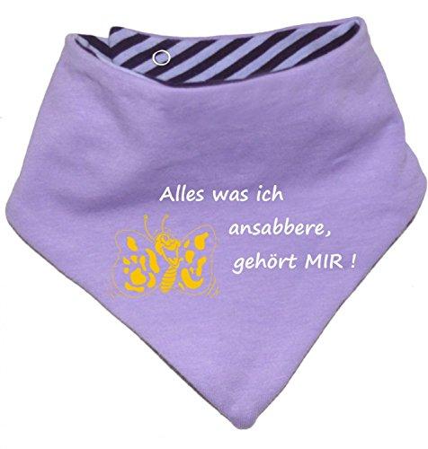 KLEINER FRATZ KLEINER FRATZ Kinder Wendehalstuch Uni/gestreift (Farbe Flieder-Pflaume (Gr. 1 (0-74)) Alles was ich ansabbere gehoert Mir