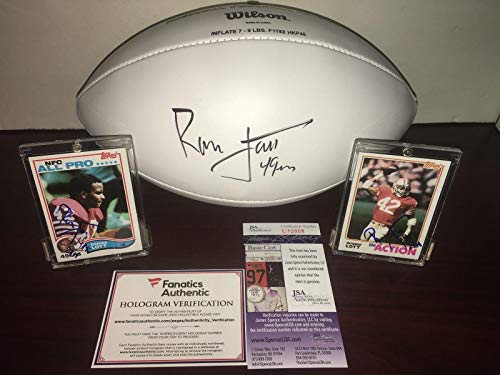 49ERS Ronnie Lott Signed Lot of 3 Football JSA + 1982 Topps Rookie Card Auto - Football Slabbed Autographed Rookie Cards