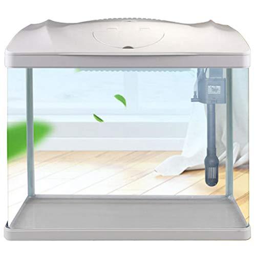 Kit De Inicio para Acuario De Escritorio para Pecera Pequeña con Bomba De Agua 3 En 1,Luces LED Y Filtro, Agregue Grava Y Decoración para Completar Su Acuario (Voltaje De 220 V),Blanco