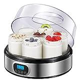 Yogurtera con Receta, Máquina Eléctrica para Hacer Yogur con 7 Tarros de Vidrio(1400ml) y Pantalla LED con Ajuste de Temporizador Auto Apagado, Acero Inoxidable