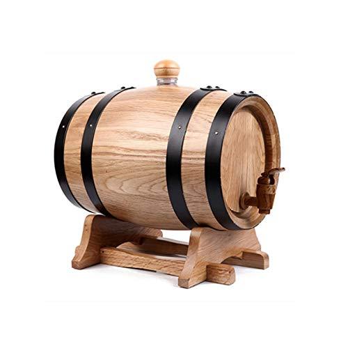 HWhome 10L Botas De Madera De Roble De Vino, Barril De Vino Dispensador Barril De Madera De Roble para Almacenamiento O Aging Wine Apto para La Conservación De Whisky, Vino, Vinagre, Etc.