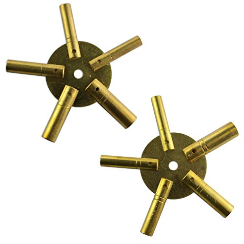 SET OF 2 CLOCK WINDING KEYS - ALL SIZES BRASS SPIDER STAR PAIR - ODD AND EVEN by Jewellers Tools