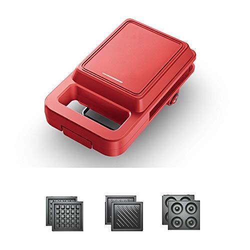 FSJD Waflera multifunción 4 en 1, Sandwichera con Cuatro Platos extraíbles fáciles de Limpiar, Control automático de Temperatura y Calentamiento Uniforme en Ambos Lados