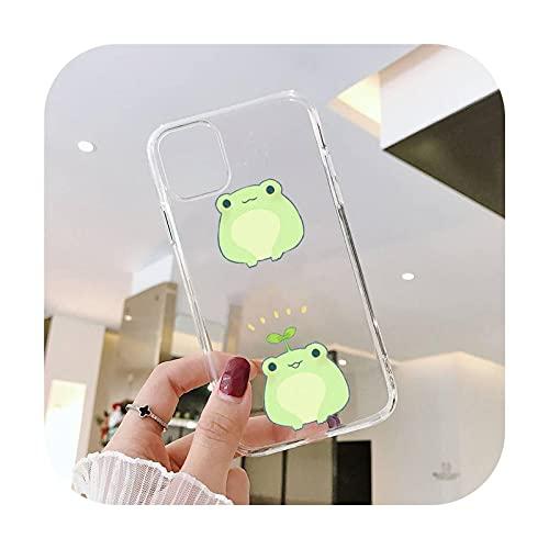 Cartoon Frog lindo teléfono Fundas transparente para iPhone 6 7 8 11 12 s mini pro X XS XR MAX Plus SE cubierta funda-a3-iphone 11 pro